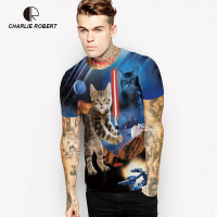 Cat Knight digital printing primer shirt Casual short-sleeved breathable lovers Leisure round neck T-shirt MT1439