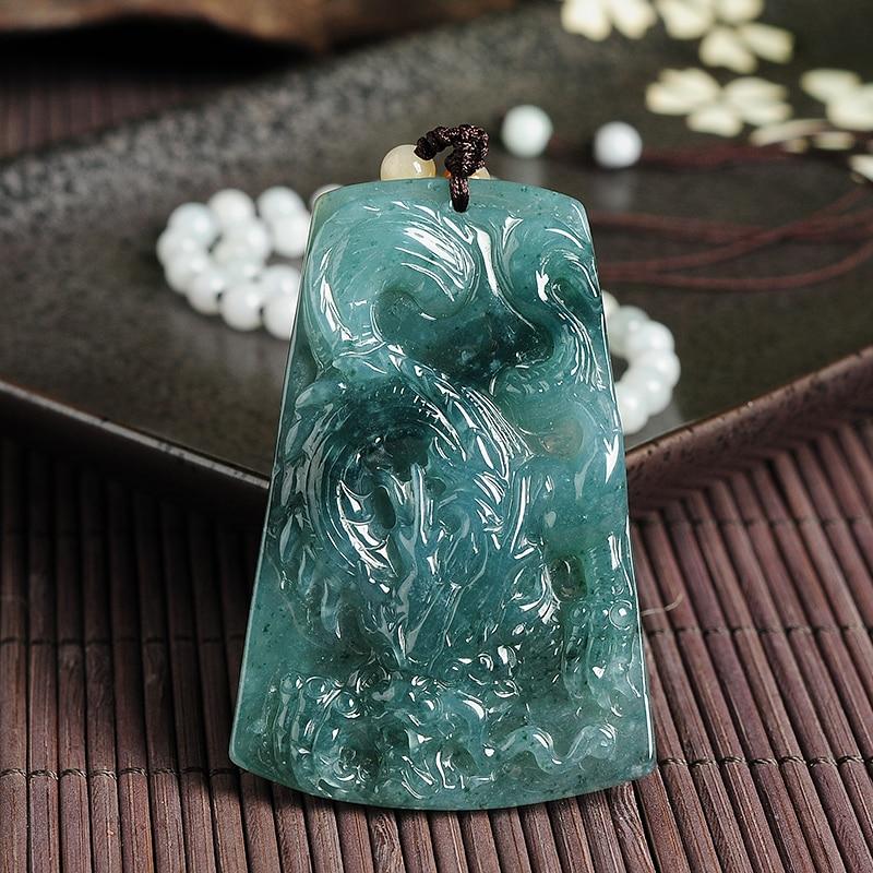 Natural A cargo emerald dragon WH0463 pendants genuine Myanmar jade antique pendants men and women models 61 * 41* 8mm natural a cargo light green jadeite pendants genuine myanmar jade pendant men and women models jade necklace