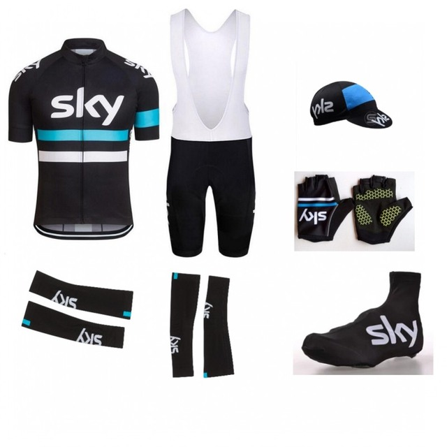 7pcs Full set 2016 new team sky cycling jerseys Short sleeve quick dry bike  cloth MTB Ropa Ciclismo Bicycle maillot GEL pad 7413bb26a