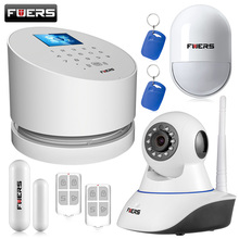 New FUERS GSM PSTN alarm system with TFT color display ios android app control match with wifi ip camera home alarm system