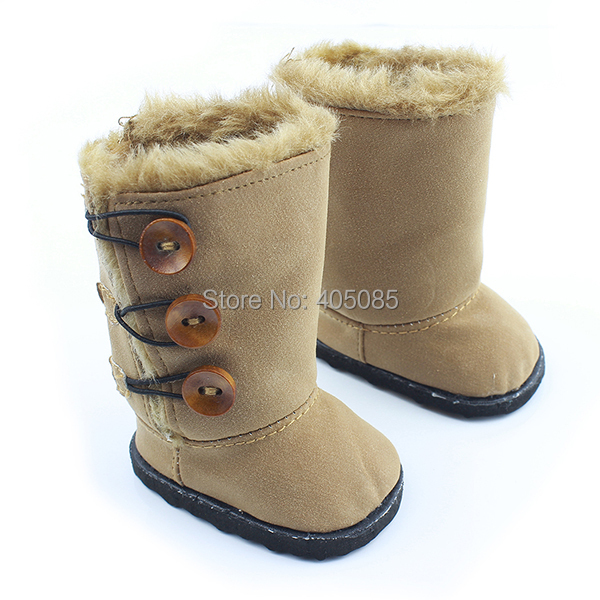 Wholesales Brown Button Style Snow Doll Shoes Boots Clothes For 18 American Girl Handmade