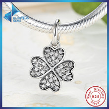 Happiness Four-Leaf Clover Pendant Charms Fit Original Bracelet & necklace 925 Sterling Silver Symbol Of Lucky In Love Free Ship(China (Mainland))