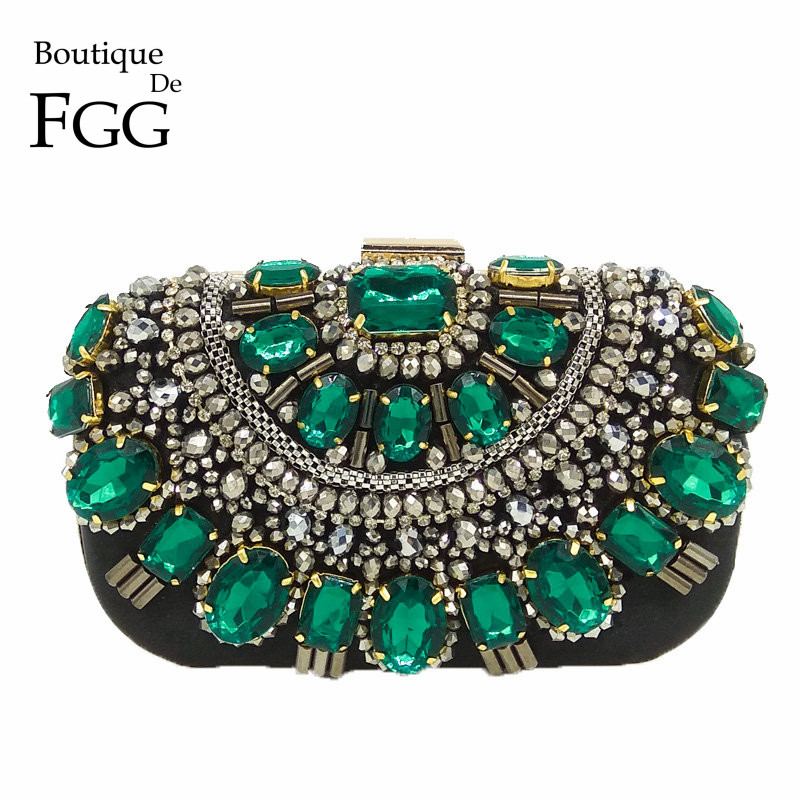 Famous Brand Women Handbags Black Crystal Evening Purse Metal Clutches Silver Beaded Bridal Wedding Box Clutch Bags Bolsos Mujer