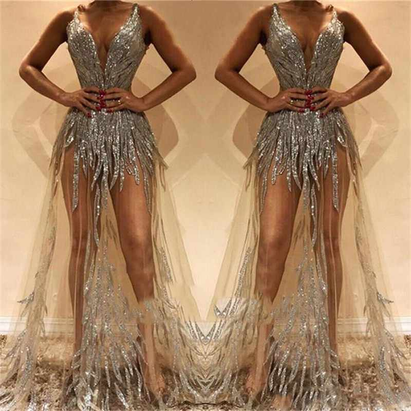 ca847c001ba6 Sexy Prom Gown Sequins 2019 vestido formatura Prom Dresses Sleeveless A  Line Long Formal Dress Tulle