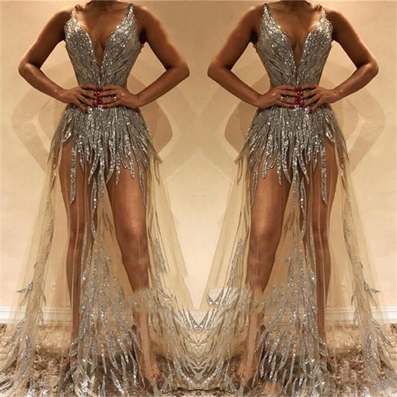 Sexy   Prom   Gown Sequins 2019 vestido formatura   Prom     Dresses   Sleeveless A Line Long Formal   Dress   Tulle Sheer gala jurken