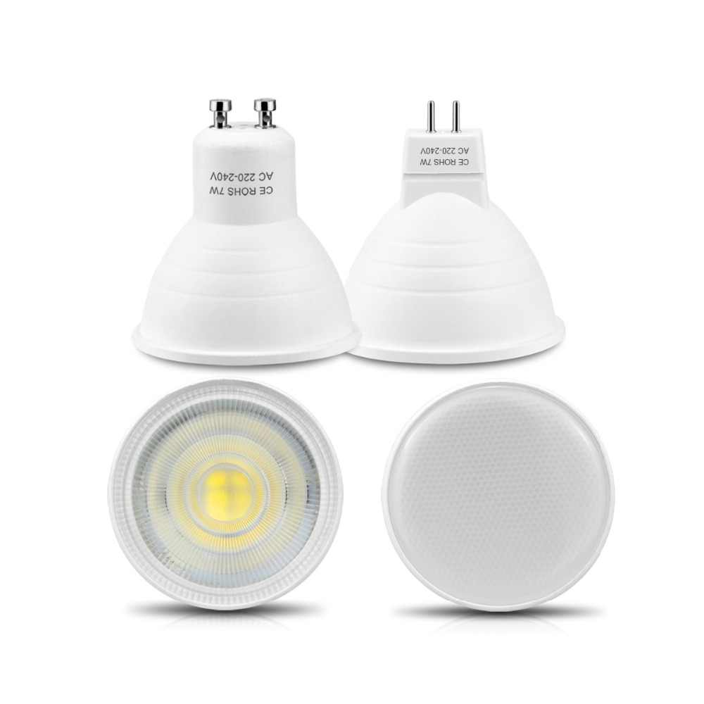 7W High Power MR16 LED Bulb AC 220V 2835 SMD GU10 LED Light With Protection Cap LED Spotlight LED Lamp For Ceiling Not Dimmable