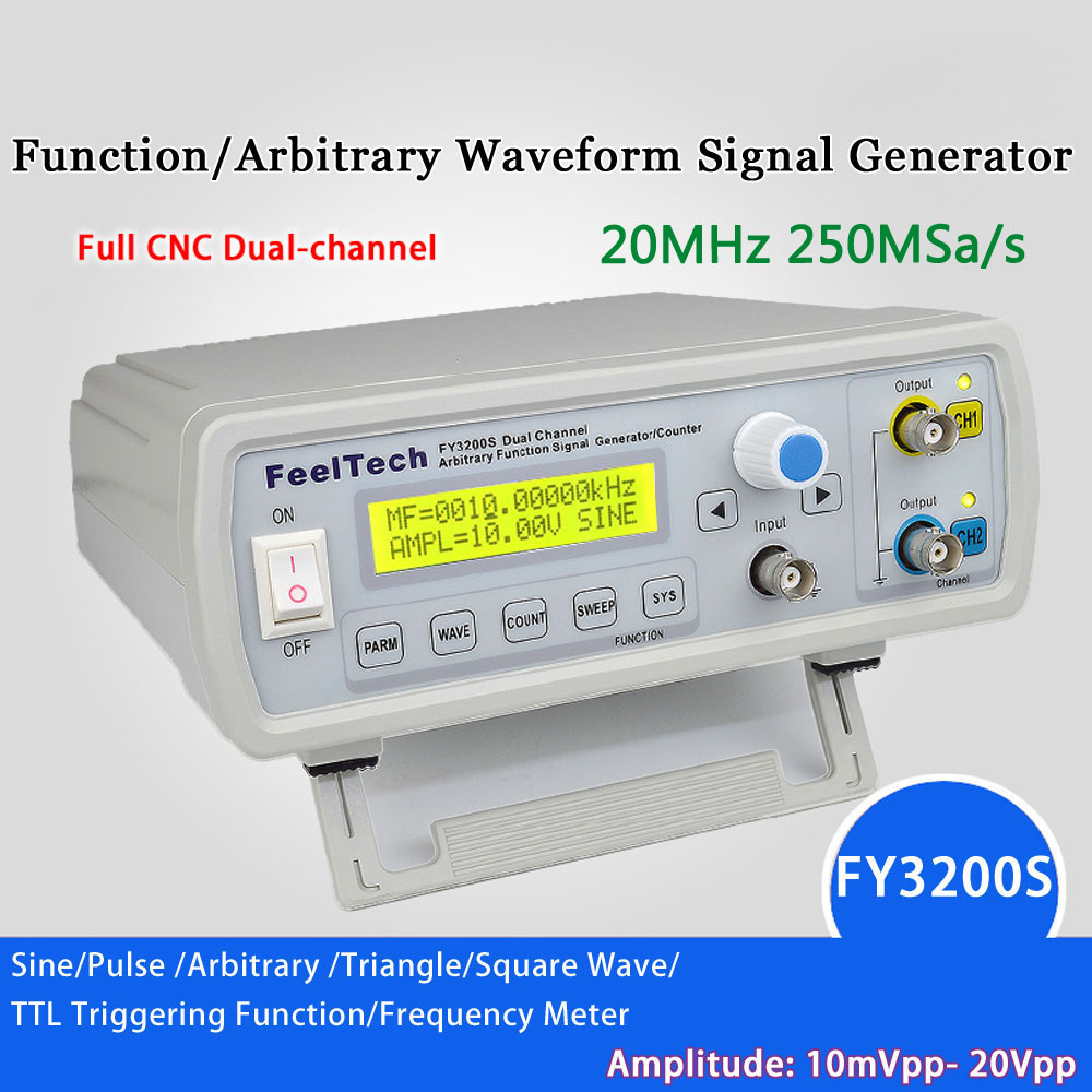 mini Digital signal generator DDS Dual channel Function Generator Sine Wave Arbitrary Waveform Frequency Generator 250MSa