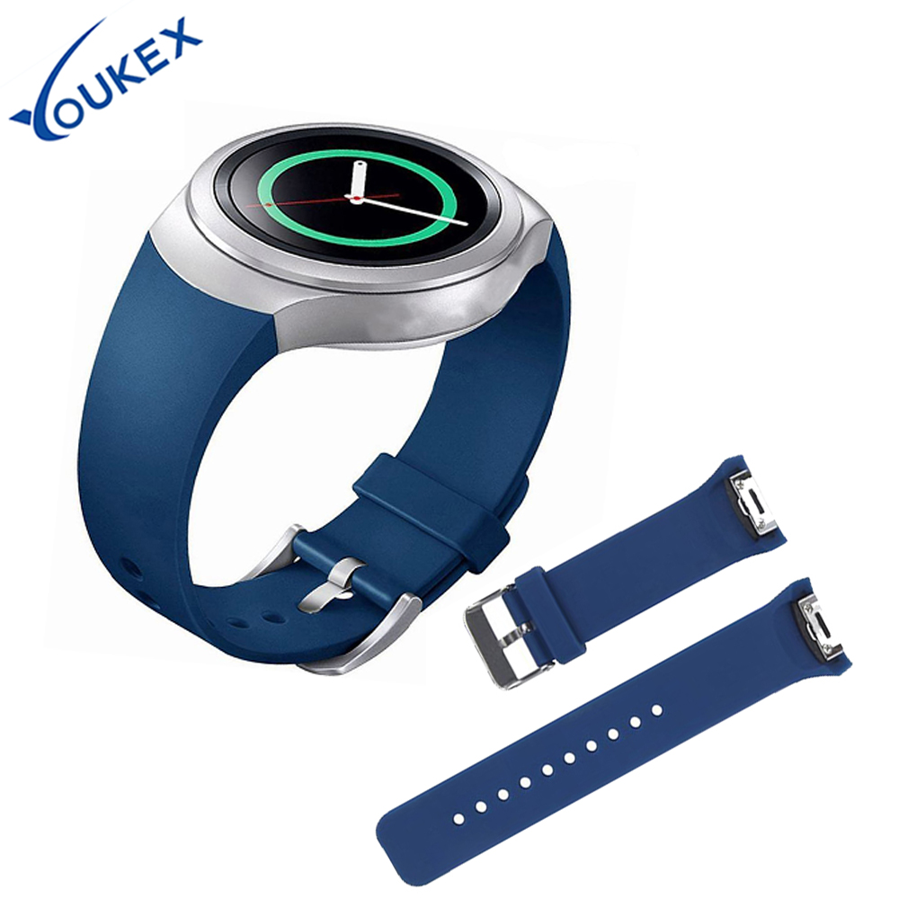 YOUKEX classical silicone sport watch band for samsung gear S2 replacement accessories bracelet wrist strap for samsung s2 smart luxury silicone watch replacement band strap for samsung gear fit 2 sm r360 wristband 100