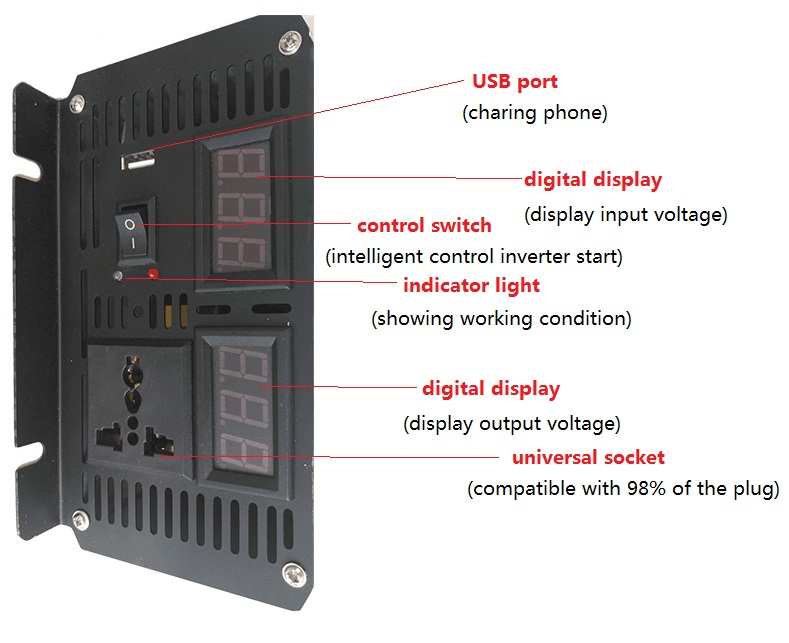 цена dual digital display 3000W peak power 6000W dc to ac Pure Sine Wave power Inverter with USB charger