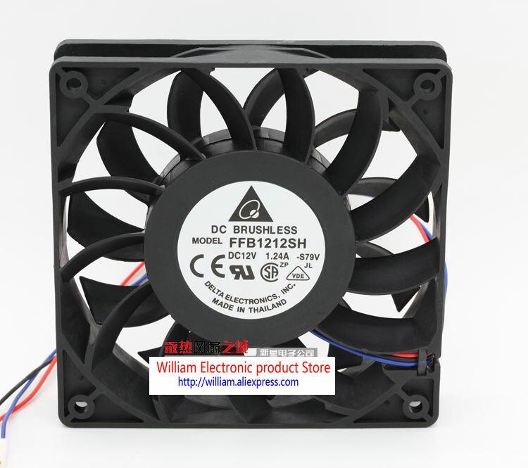 Original  Delta ffb1212sh 12025 12V 1.24A 120*120*25MM  4 Lines Tachometer Signal Computer cooling fan delta new ffr1212dhe 12038 12cm super fan 12v 6 3a car booster fan violence 120 120 38mm