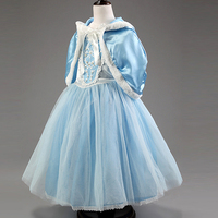 2014 Frozen Hot Winter Princess Dress Hat Shawl Cuff Suit Halloween Costume For Kids Christmas Carnival