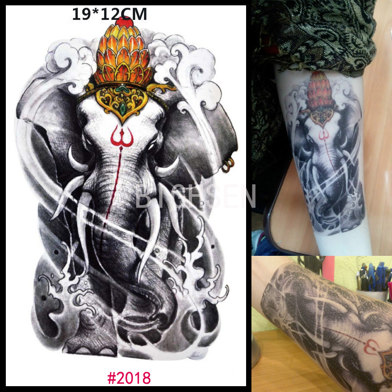 Holy Indian Elephant God Design Temporary Tattoos Fake Arm Tattoos