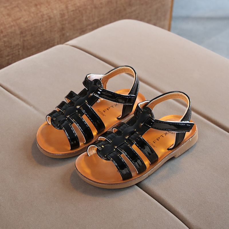 Summer New Children 39 s Sandals for Boys Bright Leather Non slip Kids Beach Shoes Girls Princess Shoes Baby Open Toe Roman Shoes in Sandals from Mother amp Kids