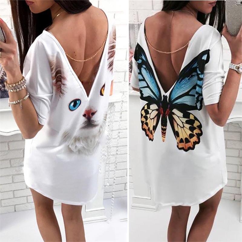 Summer Women Sexy Shirt Dress Short Sleeve Tops Backless O-Neck Printed Casual Dresses H9
