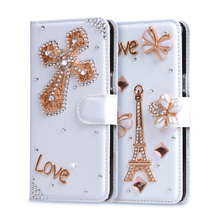"For Blackberry Passport Q30 Case 4.5"" Butterfly Rhinestone Wallet PU Leather Cover Rose Luxury DIY Diamond Handmade Fundas Case"