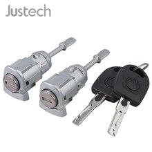 Justech 2 pces fechamento do cilindro de travamento com chaves ajuste porta do carro esquerda direita 3b0837167 3b0837168 para vw passat b5 3b lupo fechadura da porta