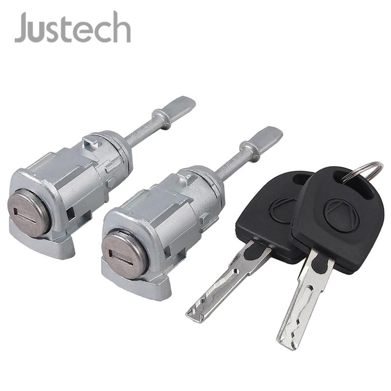 Justech 2Pcs Closing Locking Cylinder With Keys Fit Car Left Right Door 3B0837167 3B0837168 For VW Passat B5 3B Lupo Door Lock