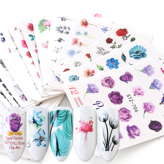 24pcs Flower Water Nail Stickers Decals Daisy Rose Transfer Tip Watermark Flora Painting Slider Manicure Decoration SASTZ683-706