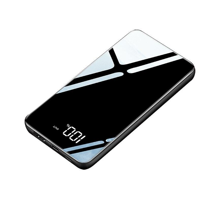 Slim LCD Mirror Screen Power Bank 10000 mAh Portable Fast Charging Ultra thin Powerbank External Battery Mobile Phone Charger