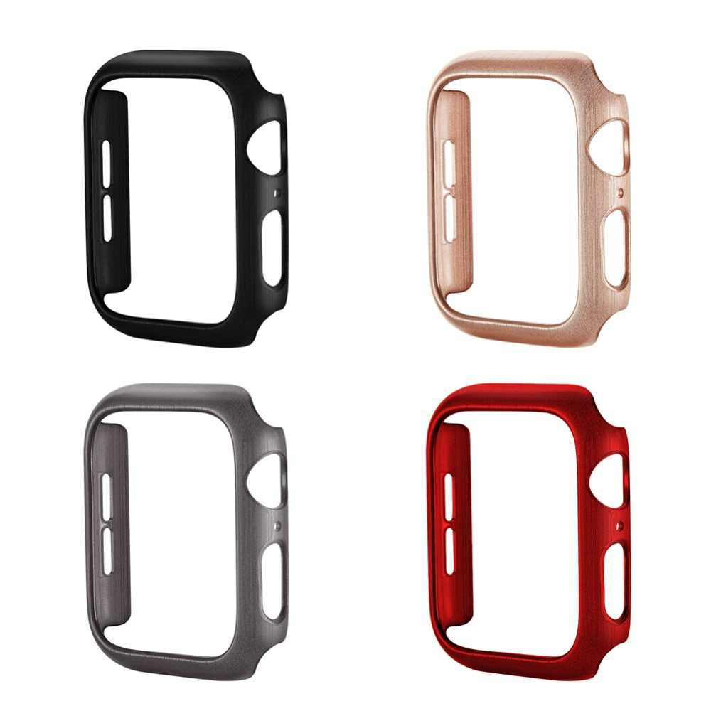 Wire Drawing Texture Case for iWatch Series 4, Hard PC Frame Cover Scratch Resistant Shockproof Case for Apple Watch 40/44MM