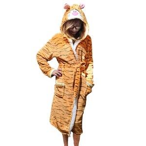 Image 3 - Unisex Animal Sleepwear Robe Sleep Cute Nightgown unicorn Stich night robe Bathrobe Winter Homewear Dressing Gowns For Women Men
