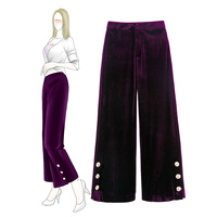 2018 Saia Midi Женская юбка юбки Neon Tidal Осень Новые Pleuche широкие брюки с талии свободные 990309 бархатные Длинные