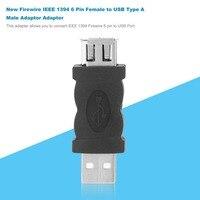 יד מתאם Firewire IEEE 1394 6 פין נקבה ל- USB 2.0 סוג A זכר מתאם מתאם מחבר MP3 טלפונים ניידים מצלמות שחקן מחשבי כף יד שחור (3)