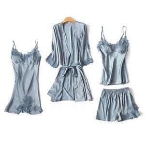 Image 4 - Moda kadın takım elbise elbise + askı + Cami üst + şort 4 adet saten pijama Set seksi kadın pijama pijama dantel Nightie Homewea
