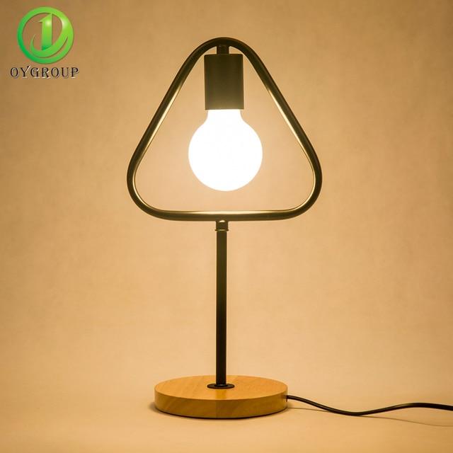 Modern Led Table Light Black Iron Simple E27 Solid Wood Base Design