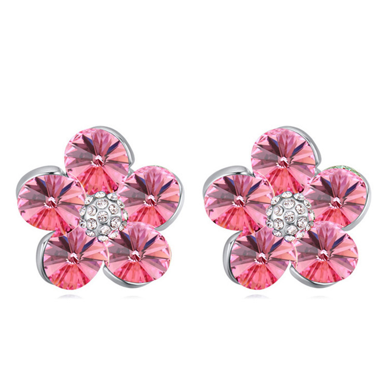 Women Party Wedding Crystal Earring S Stud Earrings Lady Brand Jewelry Flower Design Valentine Day Gifts For Friends