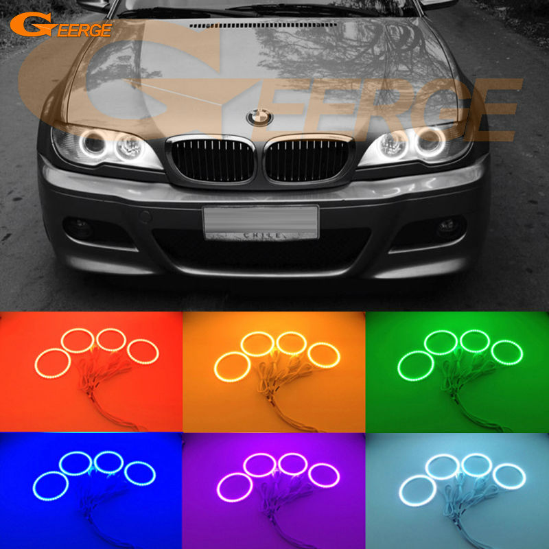 For BMW E46 325ci 330ci 2004 2005 2006 projector headlight Excellent Multi-Color Ultra bright RGB LED Angel Eyes kit 2pcs purple blue red green led demon eyes for bixenon projector lens hella5 q5 2 5inch and 3 0inch headlight angel devil demon