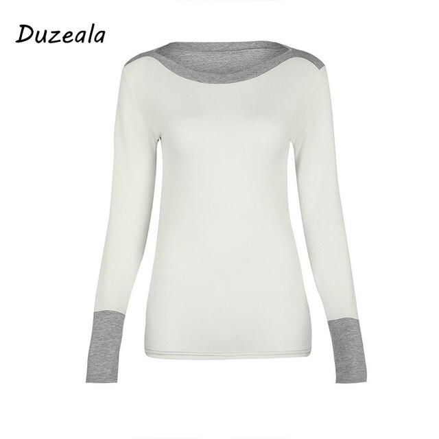 Duzeala Autumn Winter White Casual Patchwork O-Neck Long Sleeve T shirt Women Tshirt Tops T-shirts For Women