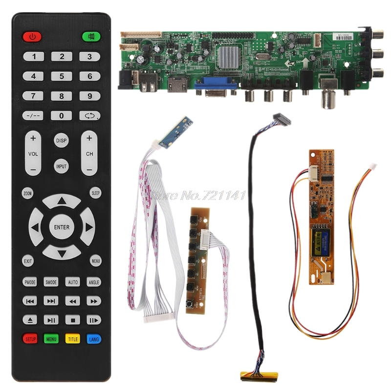 V56 V59 Universal LCD Driver Board DVB-T2 TV Board+7 Key Switch+IR+1 Lamp Inverter+LVDS Cable Kit 3663 Oct18