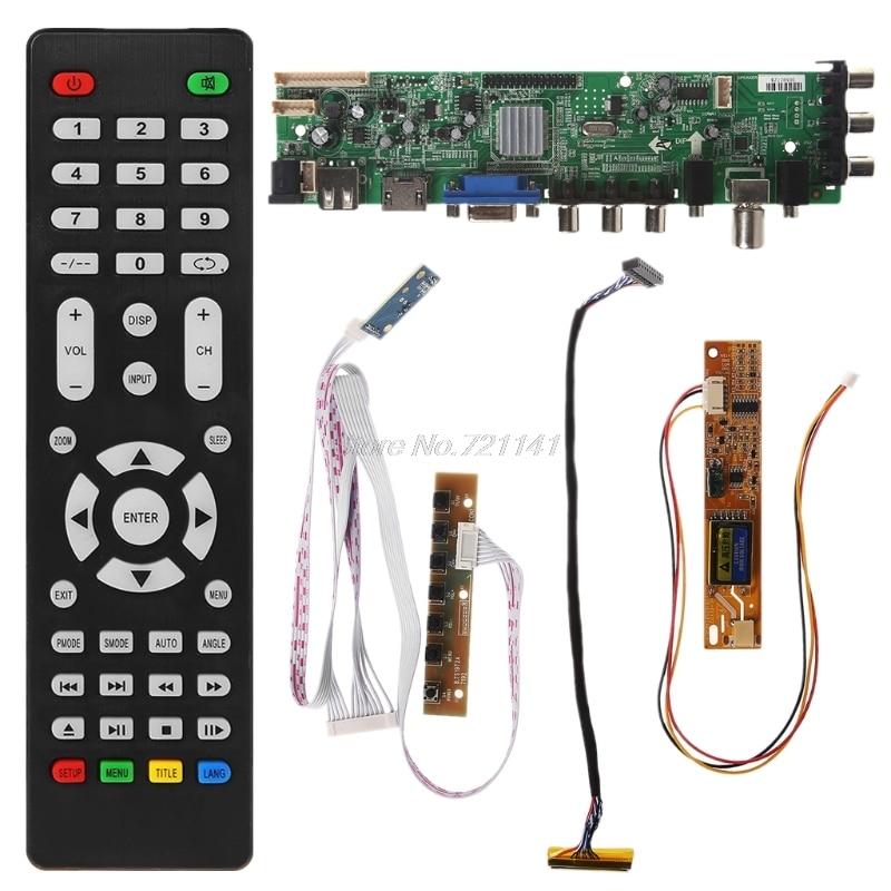 V56 V59 Universal LCD Driver Board DVB-T2 TV Board+7 Key Switch+IR+1 Lamp Inverter+LVDS Cable Kit 3663 Oct18 Dropship