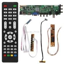 V56 v59 universal placa de motorista lcd DVB T2 placa tv + 7 chave interruptor ir 1 lâmpada inversor lvds cabo kit 3663 oct18 dropship