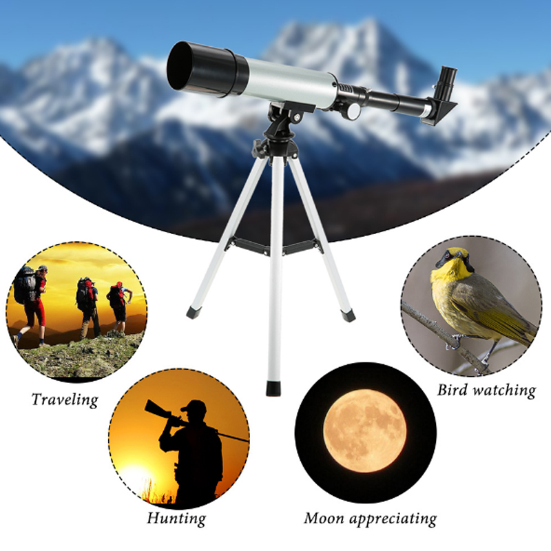 F36050M Outdoor Astronomical Monocular Telescope With Tripod Black Silver Learning Educational Science Sky Bird Observe Kit Toys
