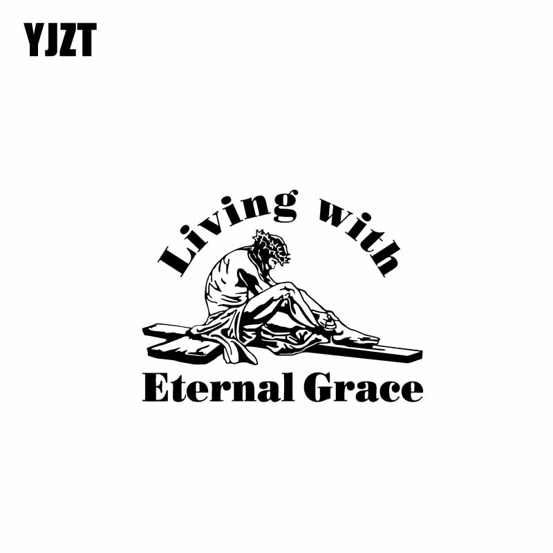 YJZT 17.8CM*13.5CM Living With Eternal Grace Jesus Vinyl Car Motorbike Sticker Decals Black/Silver C13-000327 ...