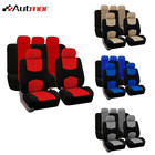 Black Car Seat Covers Full 9pc SetSplit Option Bench 5 Headrests Front Rear Bench Split Bench Function Original Cover Protection