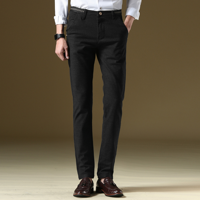 High quality men s brand business casual pants straight loose Elasticity  Simple style Formal wear Casual trousers large size 40 a5d7f6f3d931