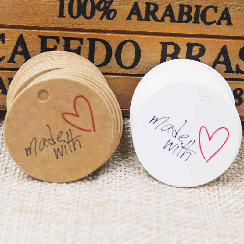 Diy Tag HandMade With Love Tag Jewely Label100pcs 1.18 Scallop TagVintage Label Packing Gift BOX Custom Logo Cost Extra