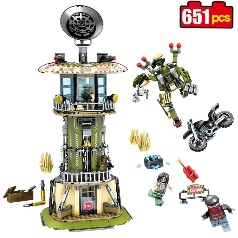 Sembo block 651pcs military Watchtower building blocks Compatible Legoed technic robot enlighten bricks toy for Children friend