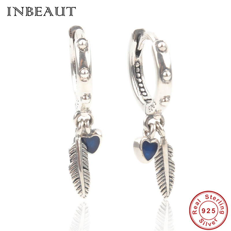 Detail Feedback Questions about Genuine 925 Sterling Silver Double Small  Dark Blue Enamel Heart Angel Feather Stud Earrings for Teen Girls Vintage  Hoop ...