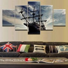 5 Panel Battle Vintage Ship Painting Canvas Wall Art Modular Picture Home Decoration Living Room Print Modern