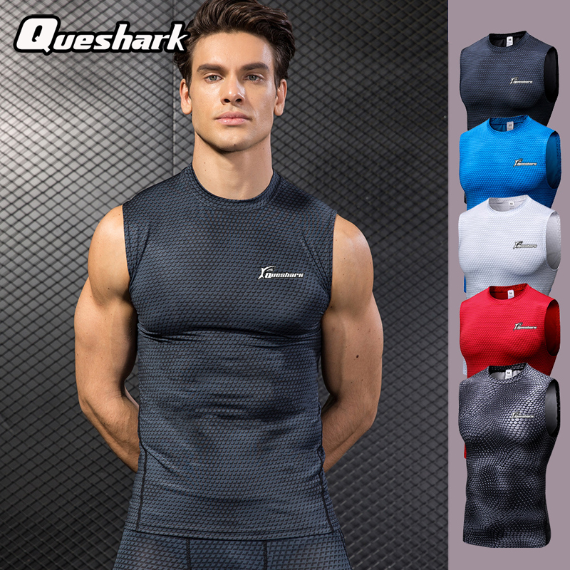 Queshark Professional Men Compression Tank Top Quick Dry Sleeveless T Shirts Jogging Fitness Workout Sportswear  Snake Print Top okulary wojskowe