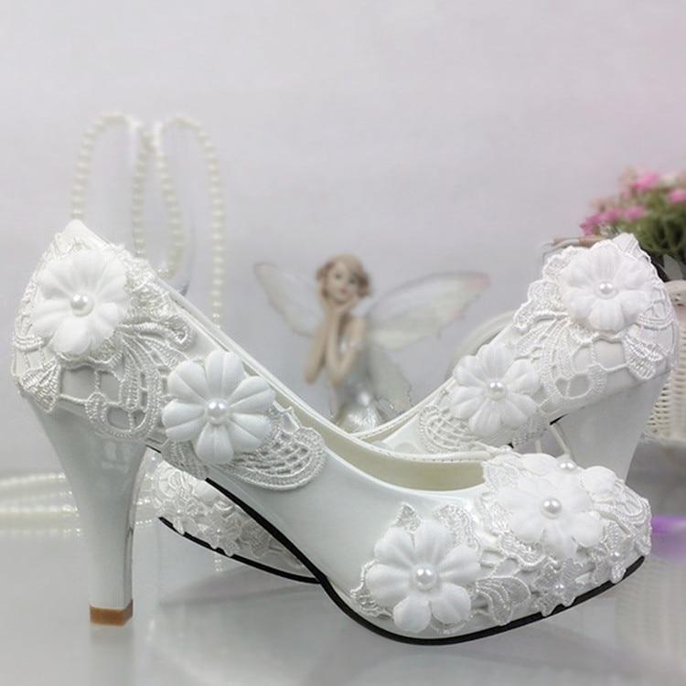 Sapatos mulheres bombas Sapatos de Casamento Flor De Renda Branca Pérola plataforma saltos Sapatos de salto Alto Sapatos de Casamento Da Noiva Da Dama de honra branco - 2