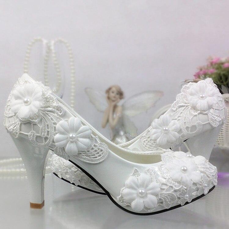 Schuhe frauen pumpen Weiße Spitze Blume Hochzeit Schuhe Perle High heels Braut Hochzeit Schuhe Brautjungfer Schuhe weiß heels plattform - 2