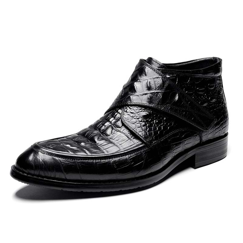 Pop Autumn Winter Men Genuine Leather Business Dress Shoes Mens Retro Carved Boots British Popular Hook & Loop  Martin Oxfords