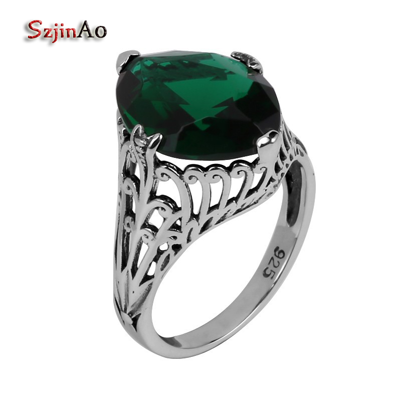 Szjinao Fine jewelry wholesale fashion carving gothic antique jewelry green stone women 925 sterling silver ring