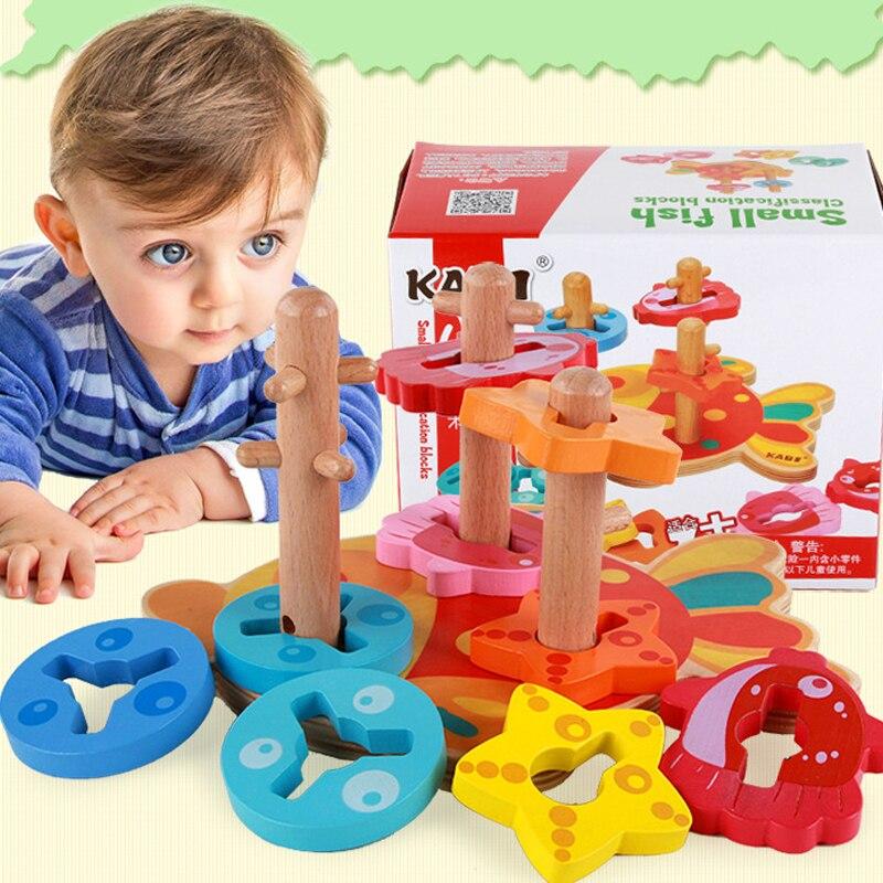 Jouets en bois blocs de construction bloc en bois quatre colonnes enfants monterssori développer l'intelligence de bébé éducation précoce