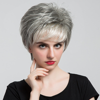 BLONDE UNICORN 6 Short Synthetic Grey Hair Fake Wig 50% Human Hair Dark Root Ombre Light Gery Artificial Full Wigs for Women